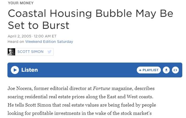 Coastal Housing Bubble to Crash 2005.