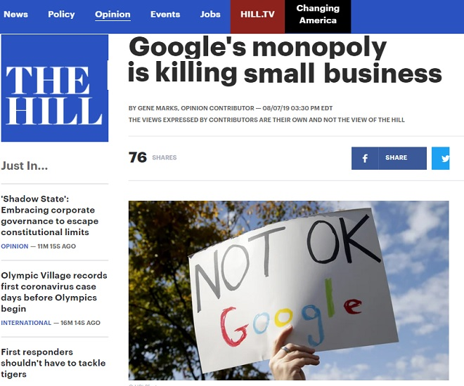 Google's Killing Small Business.